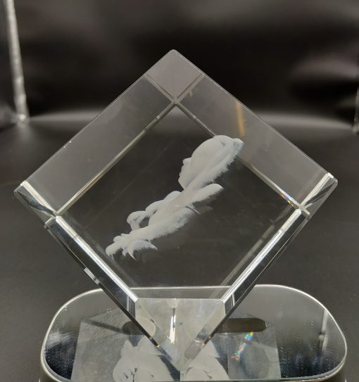 baby side photo engraved inside a crystal
