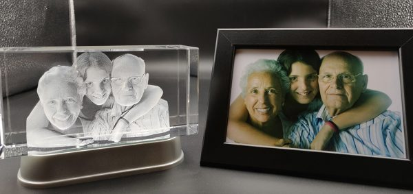 grandparents photo engraved inside a crystal