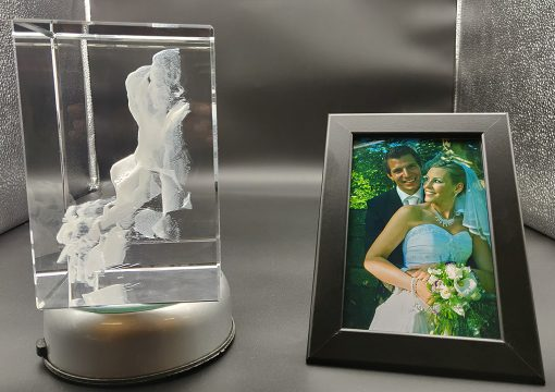 bride and groom left side photo view engraved inside a crystal
