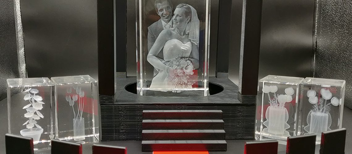 Wedding couple photo engraved inside a crystal